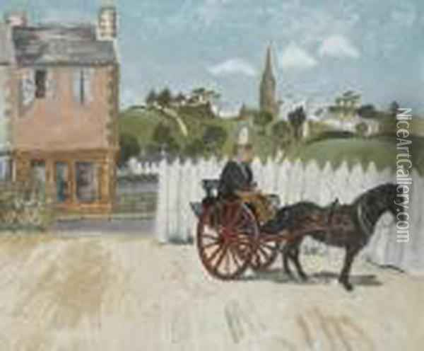 Pony And Trap, Ploare, Brittany Oil Painting - Christopher Wood