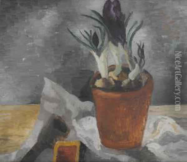 Crocuses In A Flower-pot Oil Painting - Christopher Wood