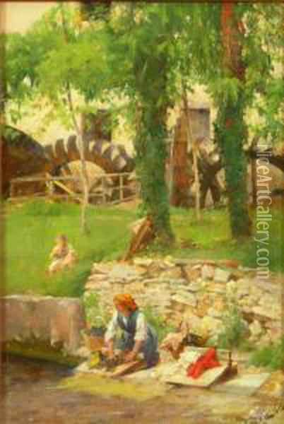 Washing-day Oil Painting - Henry Woods