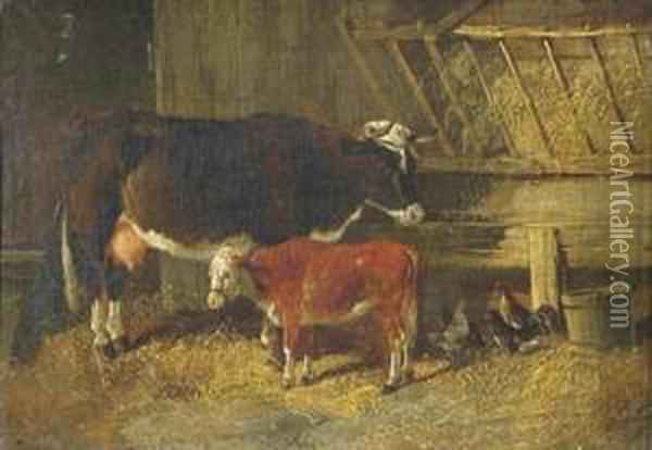 A Cow And Calf In A Barn Oil Painting - Henry Woollett