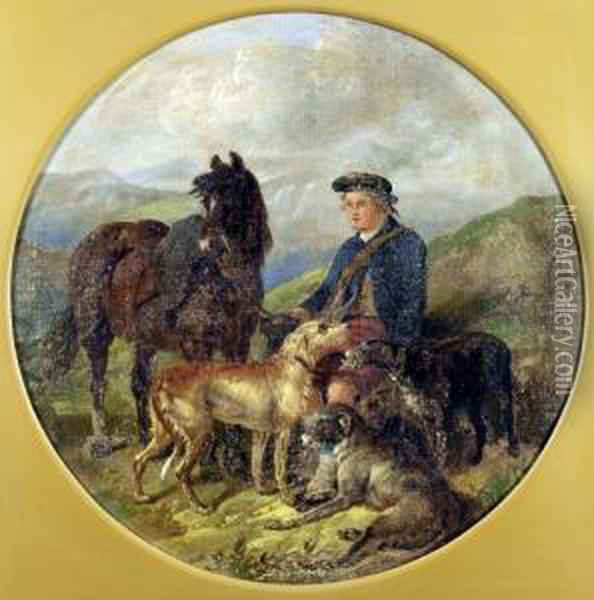 End Of Day, Scotsman, Wolfhounds And Horse In Landscape Oil Painting - Henry Woollett