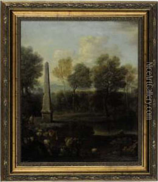 A Pastoral Landscape With An Obelisk Oil Painting - John Wootton
