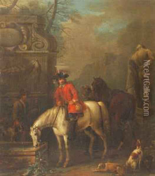 Hunting Parties In Classical Landscapes Oil Painting - John Wootton