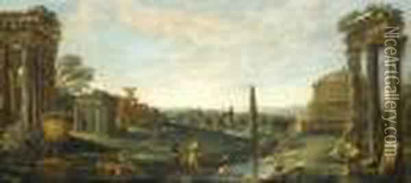 A Classical Landscape With Elegant Figures Amongst Ruins Oil Painting - John Wootton