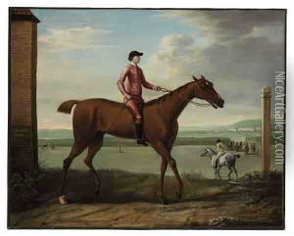 'brockelsby Betty' With Jockey Up At Newmarket, Before Her Celebrated Match With Astridge Ball Oil Painting - John Wootton
