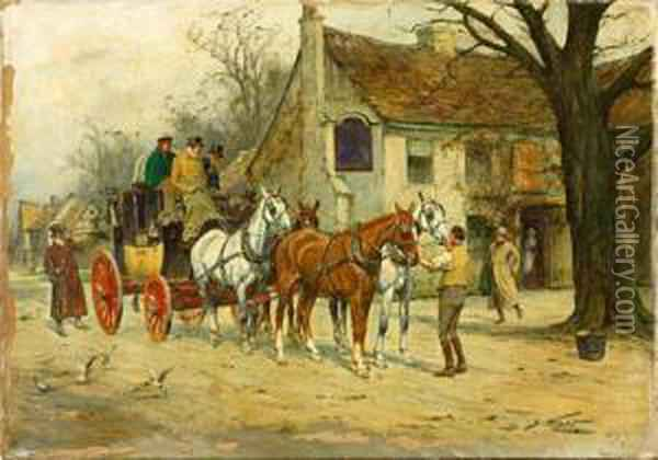 Carriage Scene Oil Painting - George Wright