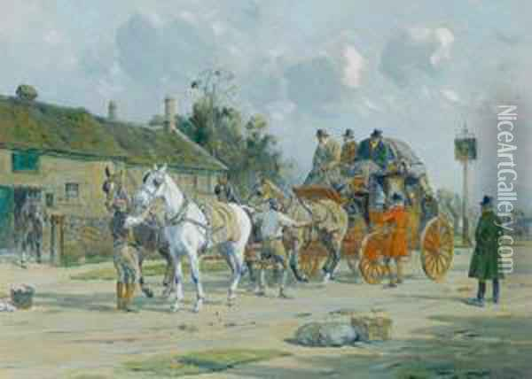 At The Post House Oil Painting - George Wright