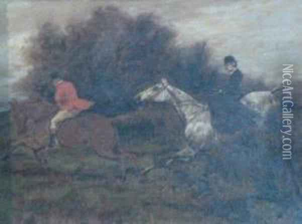 Hunting Scene Oil Painting - George Wright