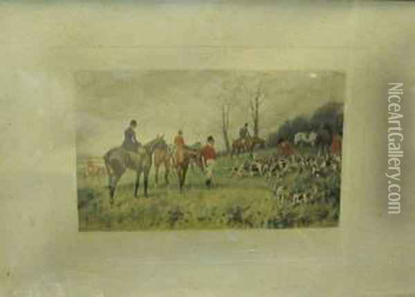 Figurant Des Scenes De Chasse A Courre En Angleterre Oil Painting - George Wright