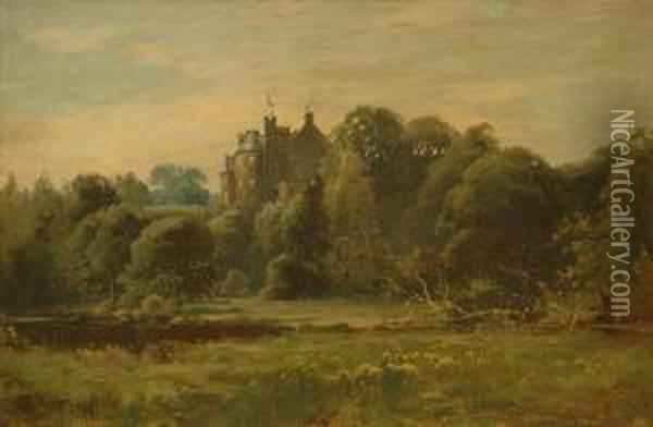 Robgill Tower Dumfriesshire Oil Painting - George Wright