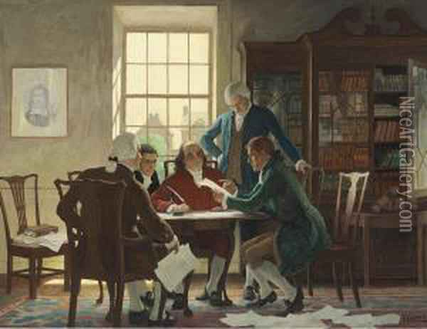 Drafting The Declaration Of Independence- Oil Painting - Newell Convers Wyeth