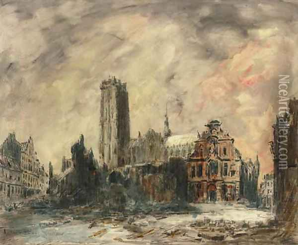 View of Malines Oil Painting - Frank Myers Boggs