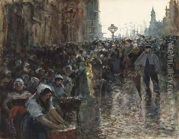 Crowded Street Scene, Paris Oil Painting - Frank Myers Boggs