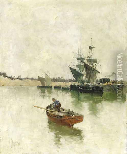 In the Harbour Oil Painting - Frank Myers Boggs