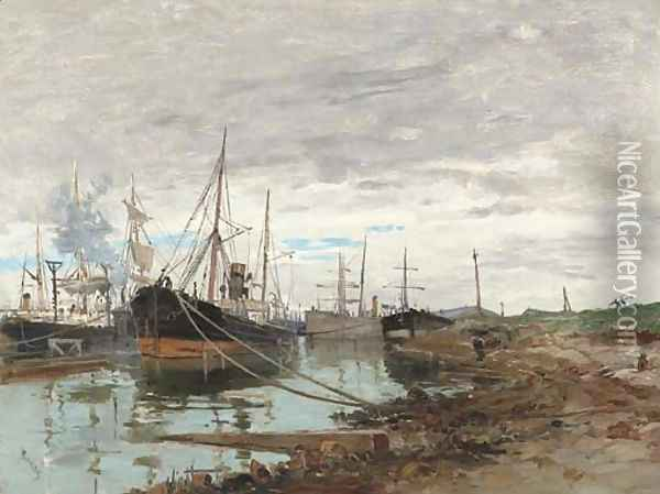 On the Quay Oil Painting - Frank Myers Boggs