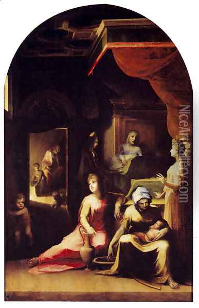 Birth Of The Virgin 1543 Oil Painting - Domenico Beccafumi