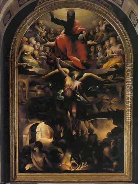 Fall of the Rebel Angels c. 1528 Oil Painting - Domenico Beccafumi