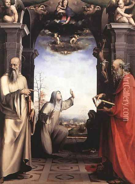 Stigmatization of St Catherine of Siena c. 1515 Oil Painting - Domenico Beccafumi