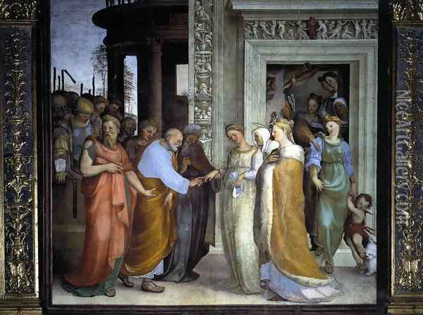 The Betrothal of the Virgin 1518 Oil Painting - Domenico Beccafumi