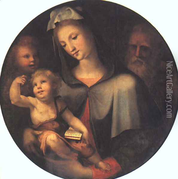 The Holy Family with Young Saint John 1530 Oil Painting - Domenico Beccafumi