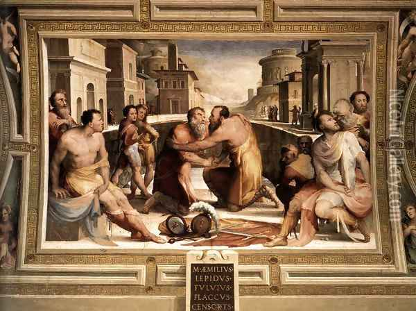 The Reconciliation of Marcus Emilius Lepidus and Fulvius Flaccus 1529-35 Oil Painting - Domenico Beccafumi