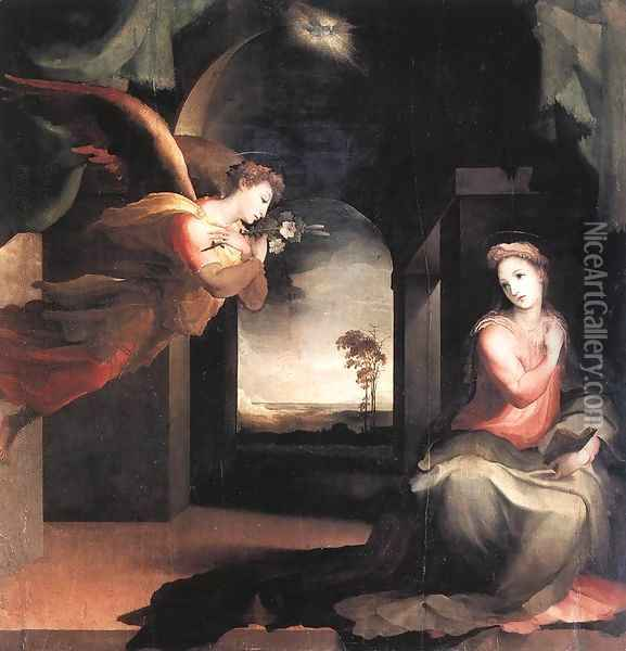 The Annunciation c. 1545 Oil Painting - Domenico Beccafumi