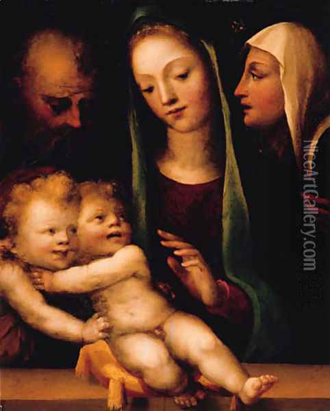 The Holy Family with the Infant Saint John the Baptist and Saint Catherine of Siena Oil Painting - Domenico Beccafumi