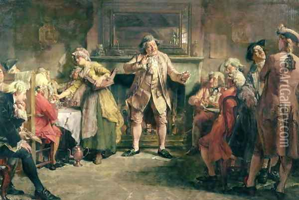 The Coffee House Orator Oil Painting - Edgar Bundy