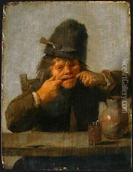 Youth Making a Face Oil Painting - Adriaen Brouwer
