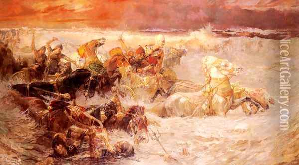 Pharaoh's Army Engulfed By The Red Sea Oil Painting - Frederick Arthur Bridgman