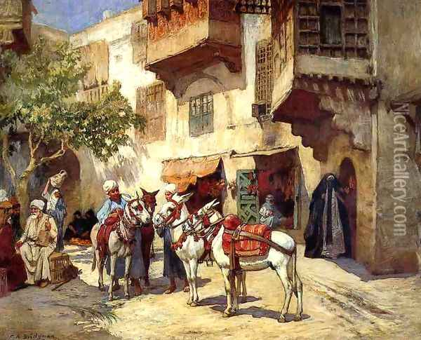 Marketplace In North Africa Oil Painting - Frederick Arthur Bridgman
