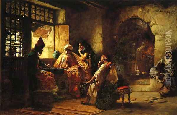 An Interesting Game Oil Painting - Frederick Arthur Bridgman