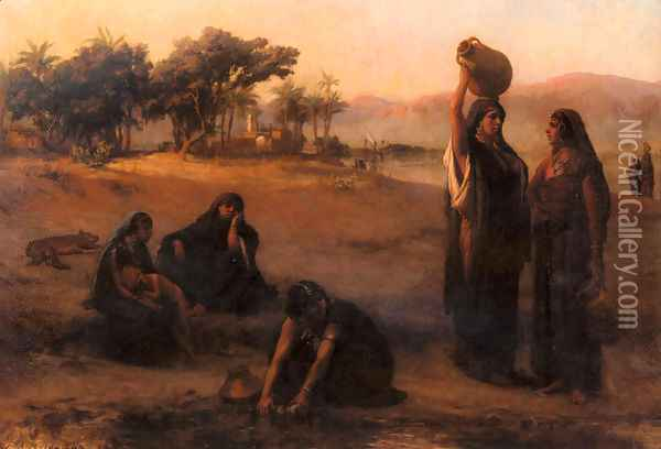 Women Drawing Water From The Nile Oil Painting - Frederick Arthur Bridgman