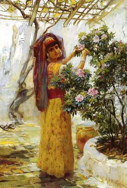 In The Courtyard Oil Painting - Frederick Arthur Bridgman