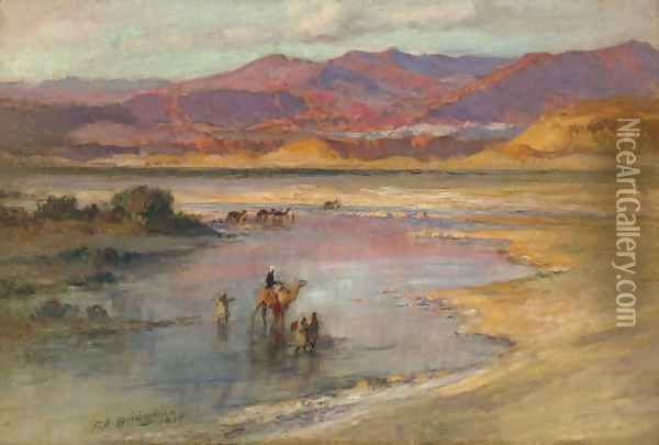 Crossing an Oasis, with the Atlas Mountains in the Distance, Morocco Oil Painting - Frederick Arthur Bridgman