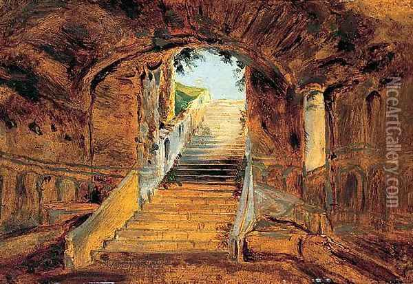 Staircase at the Villa Farnese on the Palatine Hill, Rome Oil Painting - Karl Blechen
