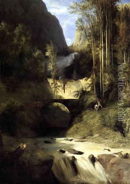Gorge at Amalfi 1831 Oil Painting - Karl Blechen