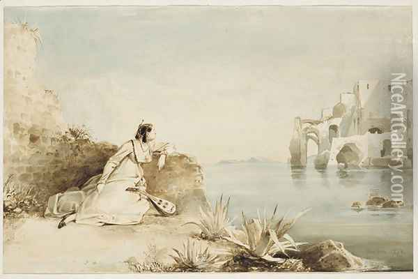 Italian Girl with Mandolin on the Coast of the Gulf of Naples Oil Painting - Karl Blechen