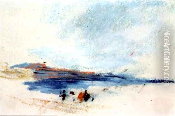 A Bay, with Blue Water and Figures in the foreground Victoria Oil Painting - Hercules Brabazon Brabazon