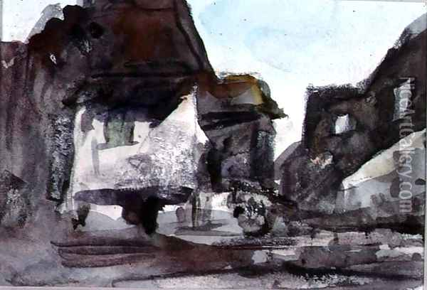 A Group of Houses Oil Painting - Hercules Brabazon Brabazon