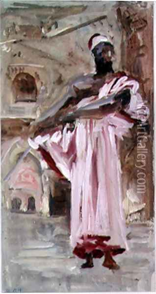 A Moor in a Crimson-edged Robe, Venice Oil Painting - Hercules Brabazon Brabazon