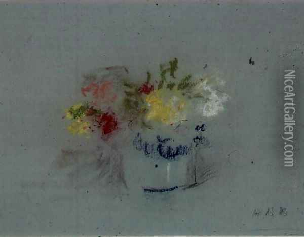 Flowers in a Blue and White Jar Oil Painting - Hercules Brabazon Brabazon