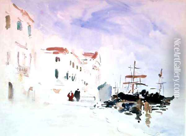 Ships moored near the Redentore, Venice Oil Painting - Hercules Brabazon Brabazon