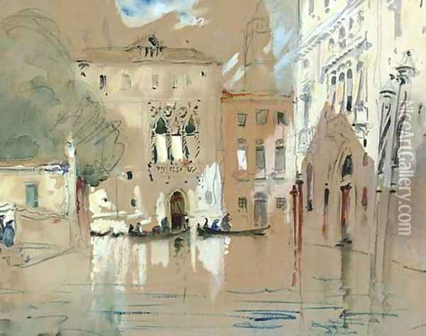 Figures disembarking on to the steps of a palazzo, Venice Oil Painting - Hercules Brabazon Brabazon