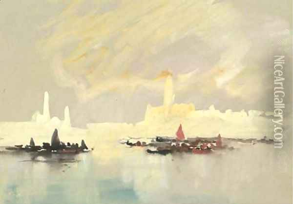 Venice from the Lagoon, with the Doge's Palace, and the Campanile, Italy Oil Painting - Hercules Brabazon Brabazon