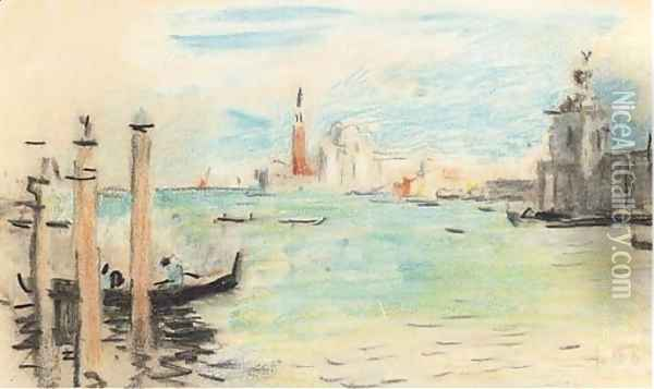 San Giorgio Maggiore from the entrance to the Grand Canal Oil Painting - Hercules Brabazon Brabazon