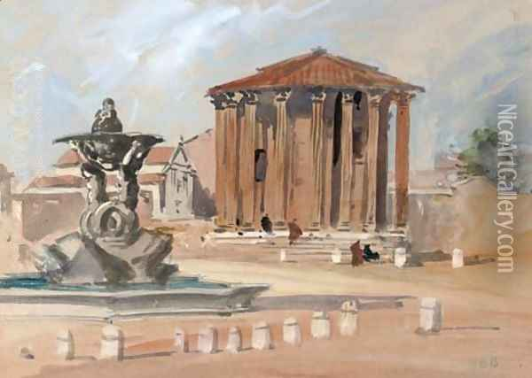 The Temple of Vesta, Rome Oil Painting - Hercules Brabazon Brabazon