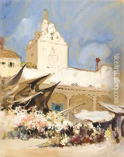 The vegetable market, Venice Oil Painting - Hercules Brabazon Brabazon