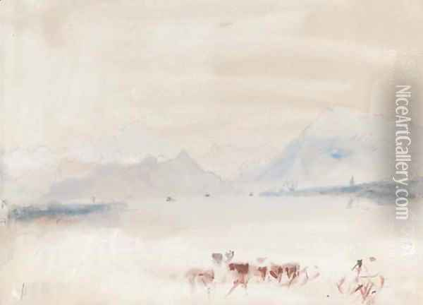 A Swiss lake with cattle Oil Painting - Hercules Brabazon Brabazon