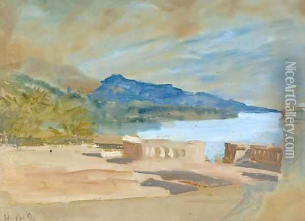 View from a terrace over a lake Oil Painting - Hercules Brabazon Brabazon